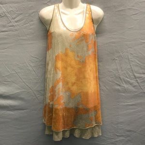 NWT ROZAE NICHOLS Tangerine/cream2 Pc Sequin Dress